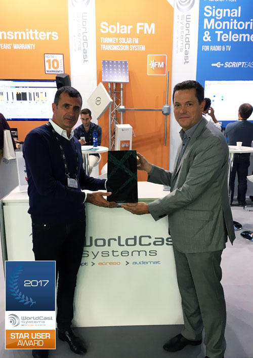 WorldCast Systems Broadcast award winner 2017